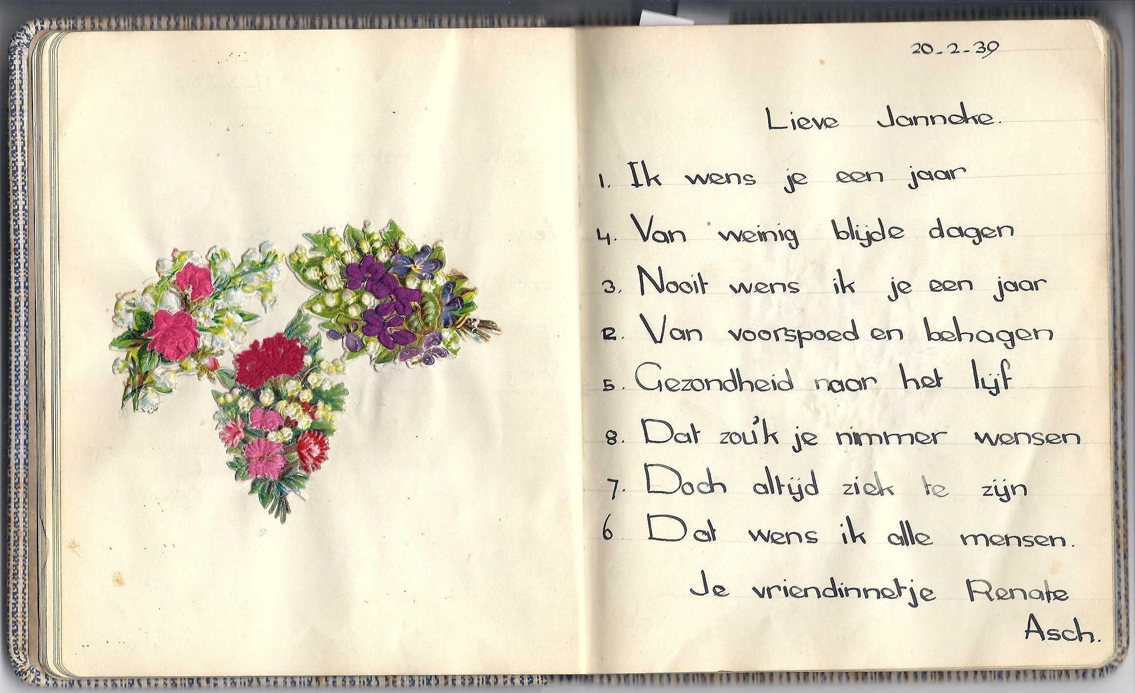 Handgeschreven Gedicht Poëzie Album
