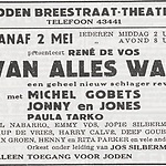 Aankondiging voor het Joden Breestraat theater met Johnny and Jones!